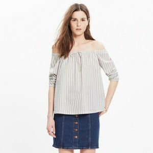 Madewell Striped Off Shoulder Blouse